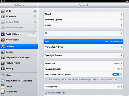 Select General settings and open VPN settings.
