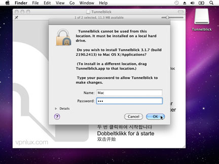 Enter your Mac OS password and hit OK.