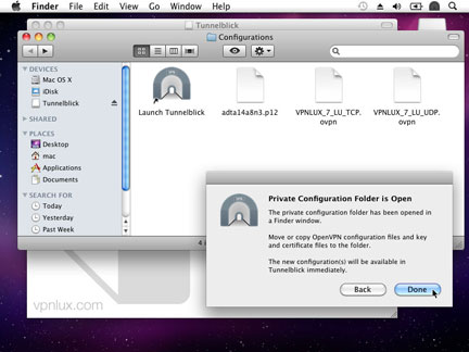 Move Configuration files (look mac configuration link in the user dashboard) into opened folder and click Done.