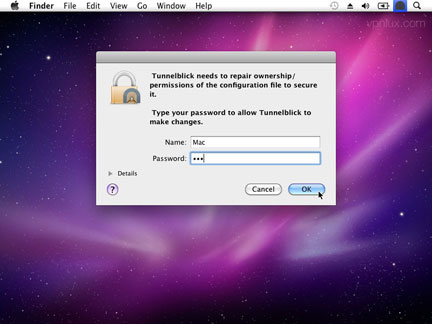 Enter your Mac OS password.