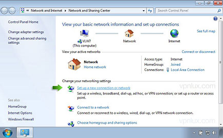 Click Set up a new connection or network.