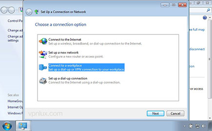 Select Connect to a workplace and create a new connection (If you will see a new window).